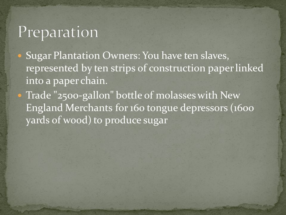 Sugar Plantation Owners: You have ten slaves, represented by ten strips of construction paper linked into a paper chain. Trade