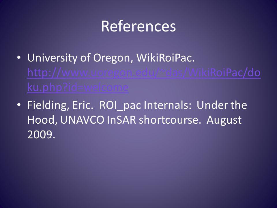 References University of Oregon, WikiRoiPac.