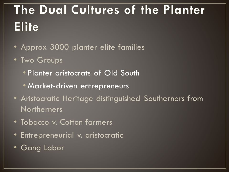 Approx 3000 planter elite families Two Groups Planter aristocrats of Old South Market-driven entrepreneurs Aristocratic Heritage distinguished Souther