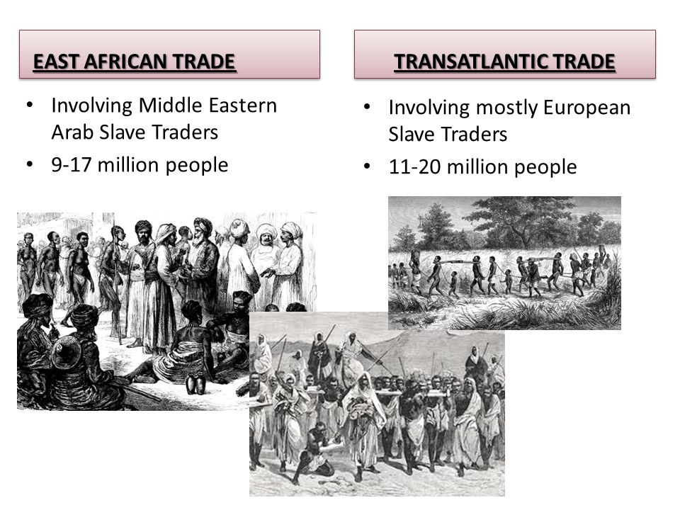 EAST AFRICAN TRADE Involving Middle Eastern Arab Slave Traders 9-17 million people TRANSATLANTIC TRADE Involving mostly European Slave Traders 11-20 million people