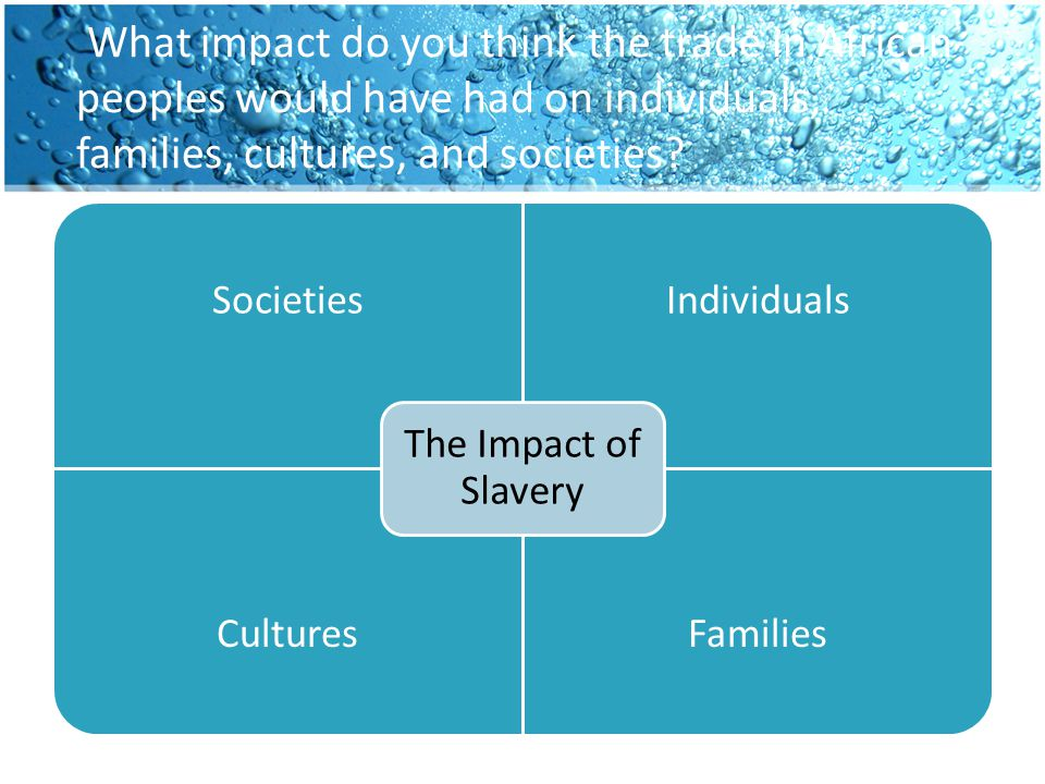 What impact do you think the trade in African peoples would have had on individuals, families, cultures, and societies? SocietiesIndividuals CulturesF