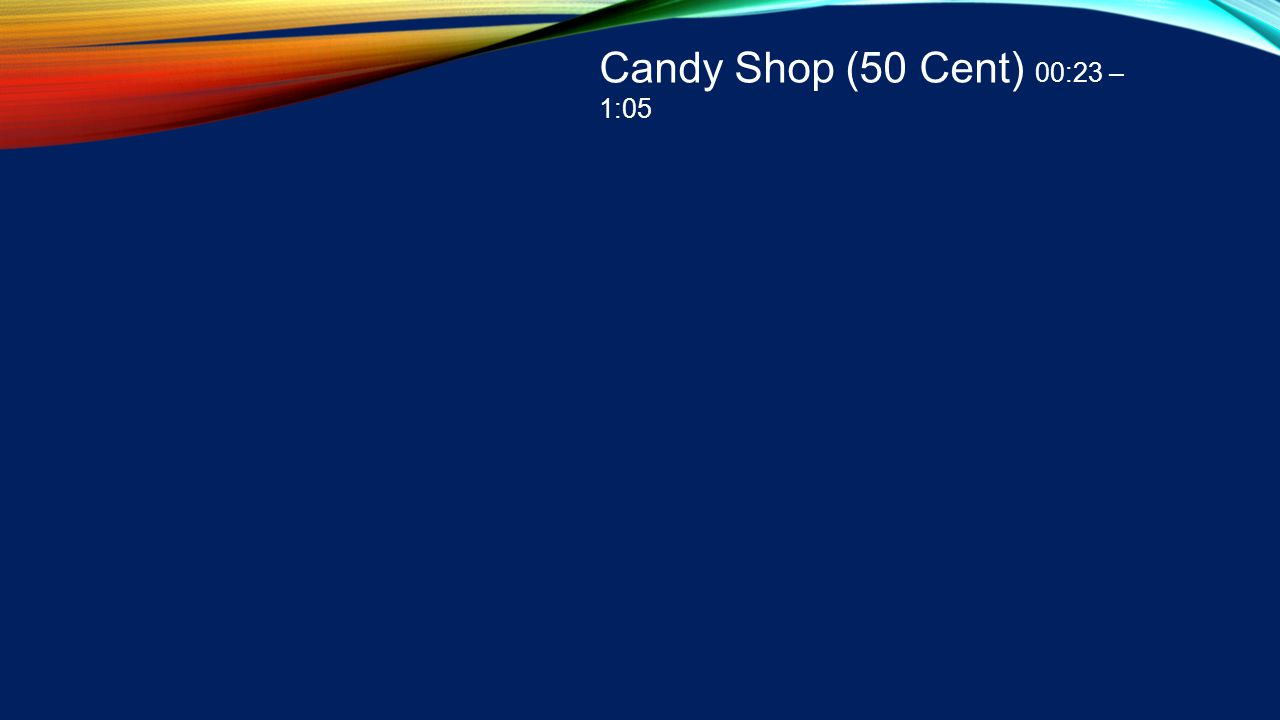 Candy Shop (50 Cent) 00:23 – 1:05