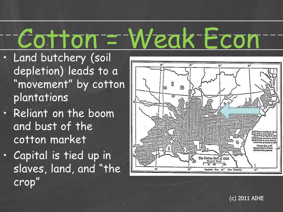 Cotton = Weak Econ Land butchery (soil depletion) leads to a movement by cotton plantations Reliant on the boom and bust of the cotton market Capital is tied up in slaves, land, and the crop (c) 2011 AIHE
