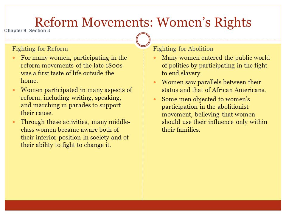 Reform Movements: Women's Rights Fighting for Reform For many women, participating in the reform movements of the late 1800s was a first taste of life