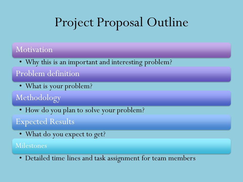 Project Proposal Outline Motivation Why this is an important and interesting problem? Problem definition What is your problem? Methodology How do you