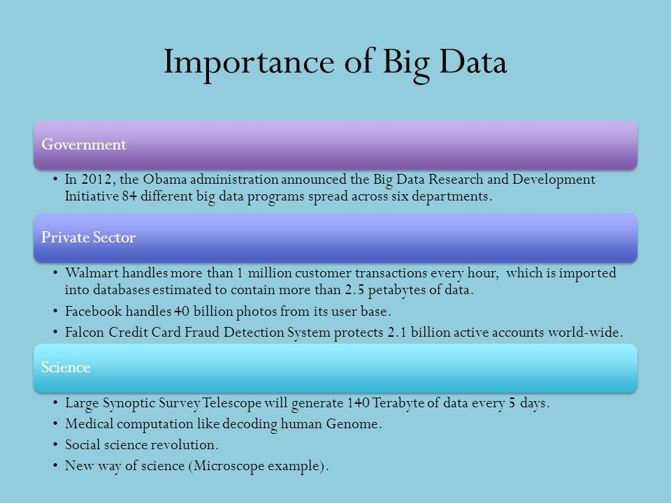 Importance of Big Data Government In 2012, the Obama administration announced the Big Data Research and Development Initiative 84 different big data p