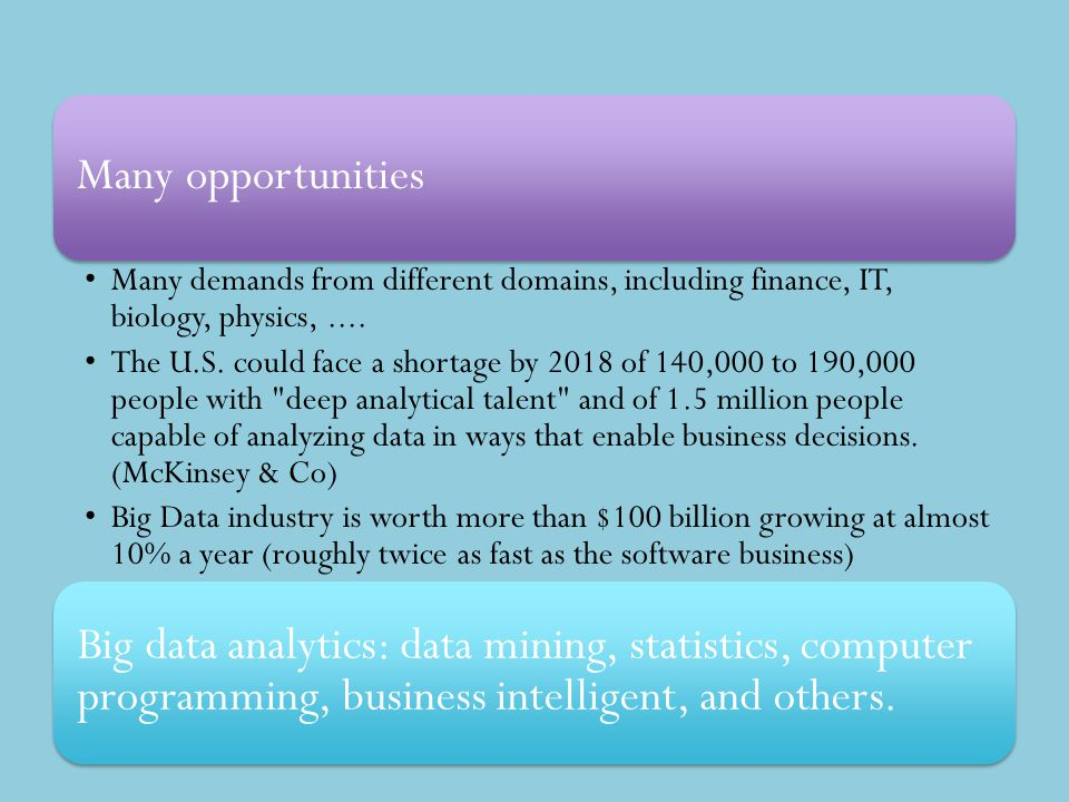 Many opportunities Many demands from different domains, including finance, IT, biology, physics,.... The U.S. could face a shortage by 2018 of 140,000