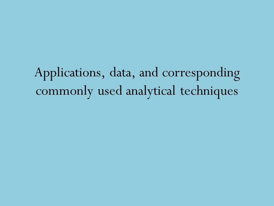 Applications, data, and corresponding commonly used analytical techniques