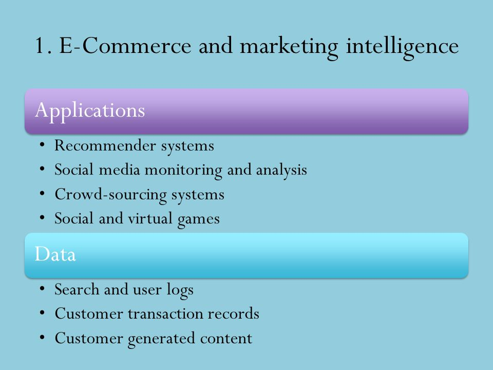 1. E-Commerce and marketing intelligence Applications Recommender systems Social media monitoring and analysis Crowd-sourcing systems Social and virtu