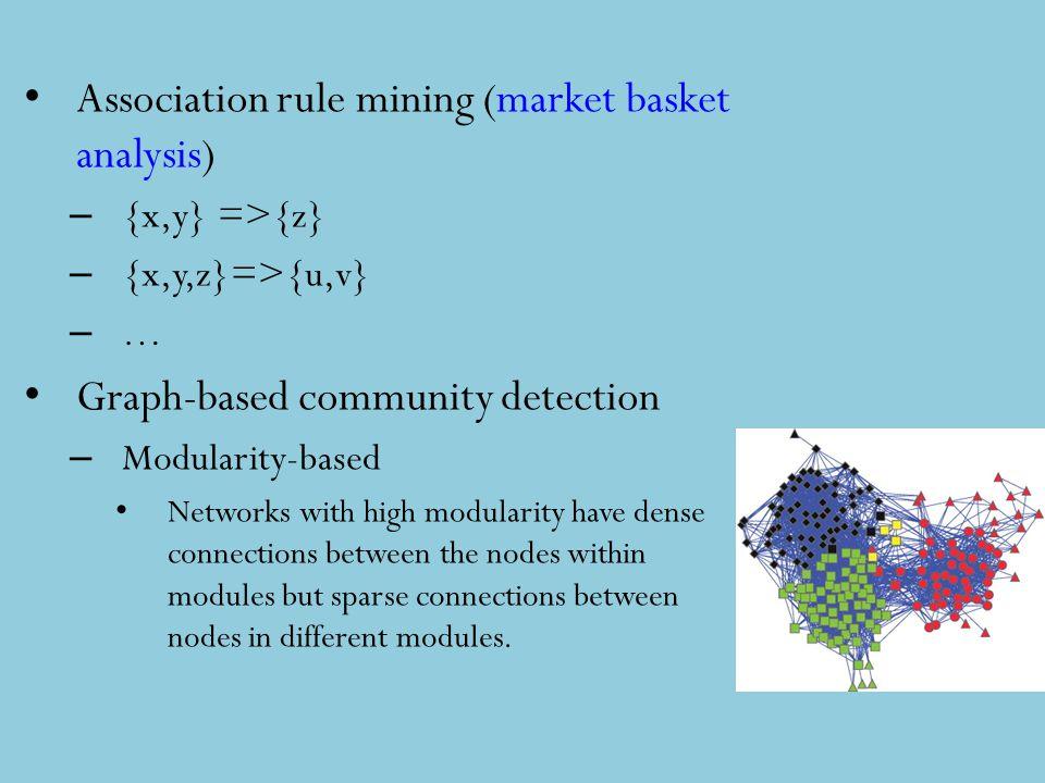 Association rule mining (market basket analysis) – {x,y} =>{z} – {x,y,z}=>{u,v} – … Graph-based community detection – Modularity-based Networks with h