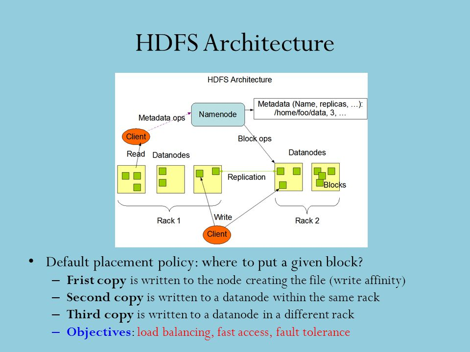 HDFS Architecture Default placement policy: where to put a given block? – Frist copy is written to the node creating the file (write affinity) – Secon