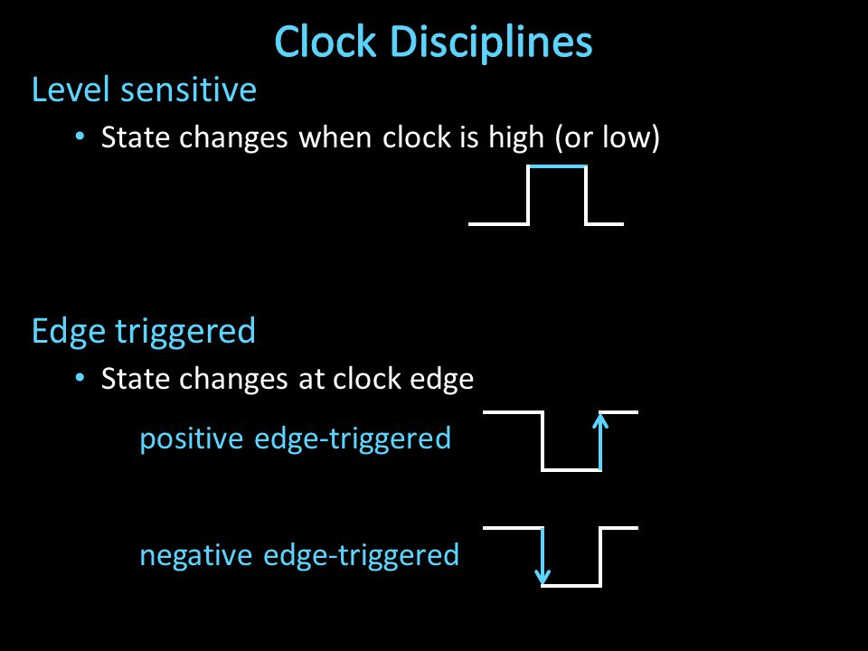 Level sensitive State changes when clock is high (or low) Edge triggered State changes at clock edge positive edge-triggered negative edge-triggered