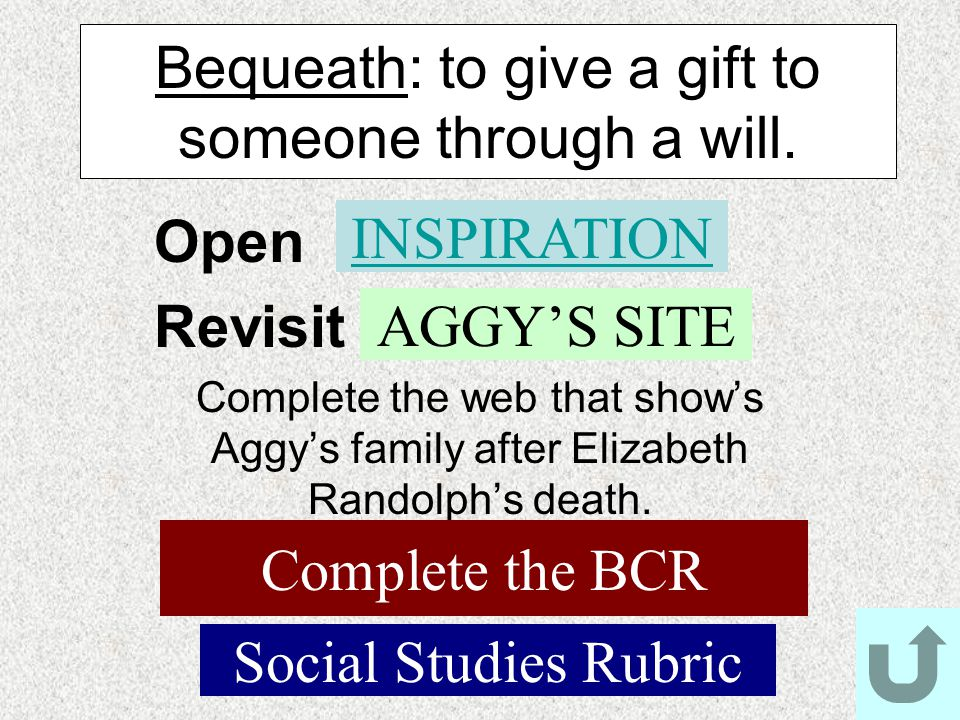 Bequeath: to give a gift to someone through a will.