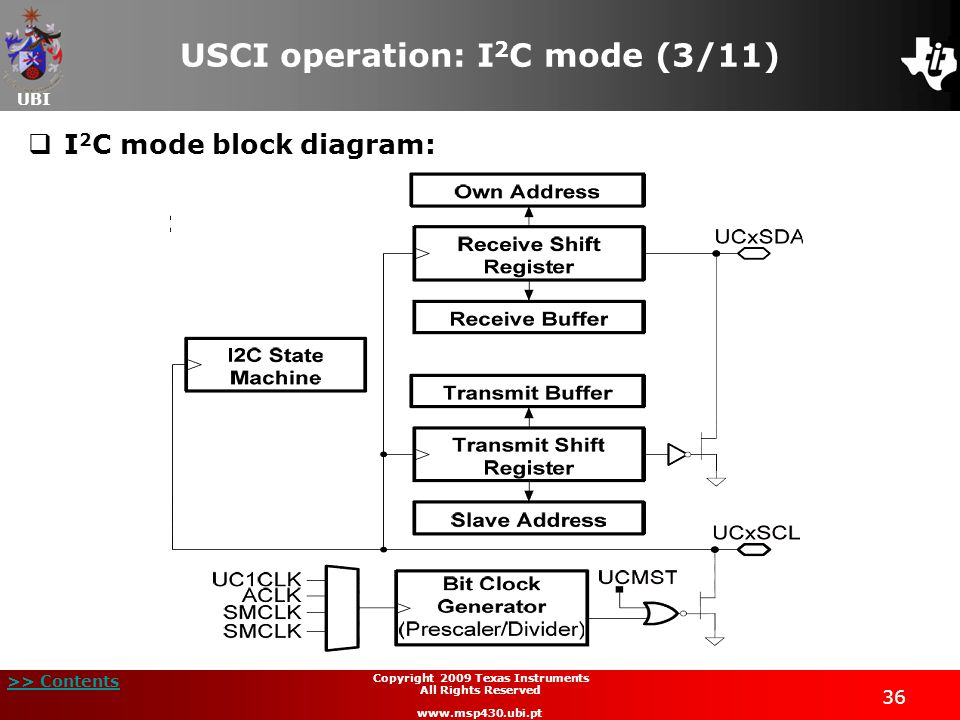 UBI >> Contents 37 Copyright 2009 Texas Instruments All Rights Reserved www.msp430.ubi.pt USCI operation: I 2 C mode (4/11)  Initialized using the sequence given earlier;  I 2 C serial data:  One clock pulse is generated by the master for each data bit transferred;  Operates with byte data (MSB transferred first);  The first byte after a START condition consists of a 7-bit slave address and the R/W bit: R/W = 0: Master transmits data to a slave; R/W = 1: Master receives data from a slave.