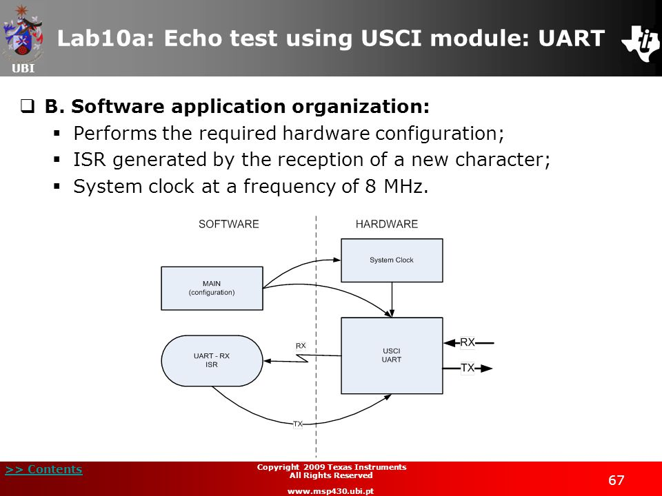 UBI >> Contents 68 Copyright 2009 Texas Instruments All Rights Reserved www.msp430.ubi.pt Lab10a: Echo test using USCI module: UART  C.