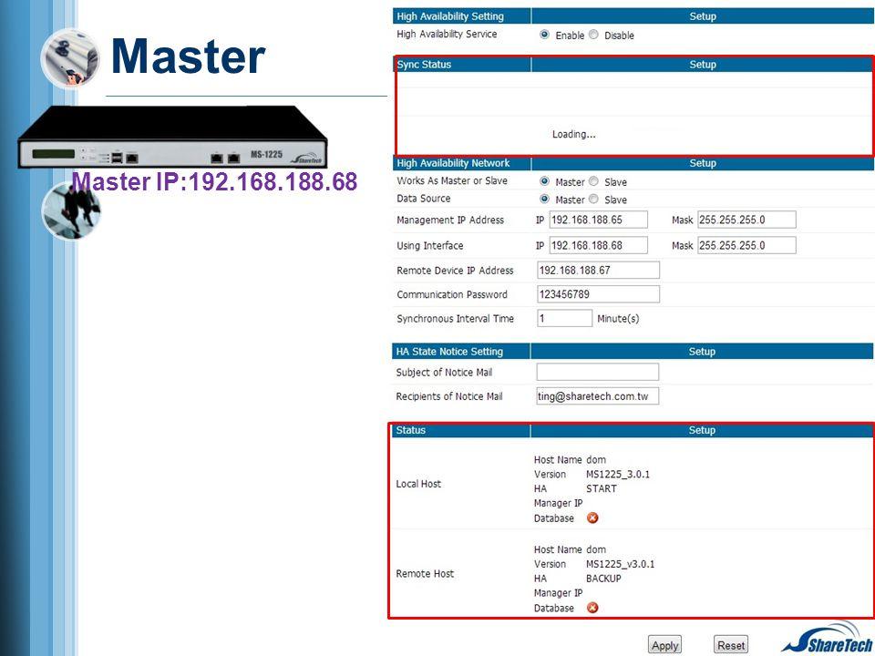 Master Master IP:192.168.188.68