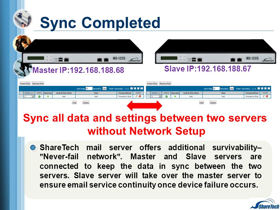 Master IP:192.168.188.68 Slave IP:192.168.188.67 Sync all data and settings between two servers without Network Setup Sync Completed ShareTech mail se