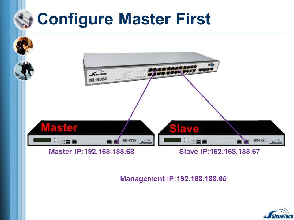 Configure Master First Management IP:192.168.188.65 Master IP:192.168.188.68Slave IP:192.168.188.67 Slave Master