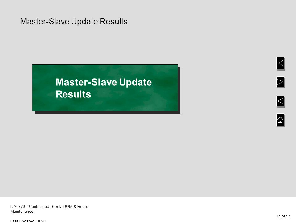 11 of 17 DA0770 - Centralised Stock, BOM & Route Maintenance Last updated: 03-01 Master-Slave Update Results