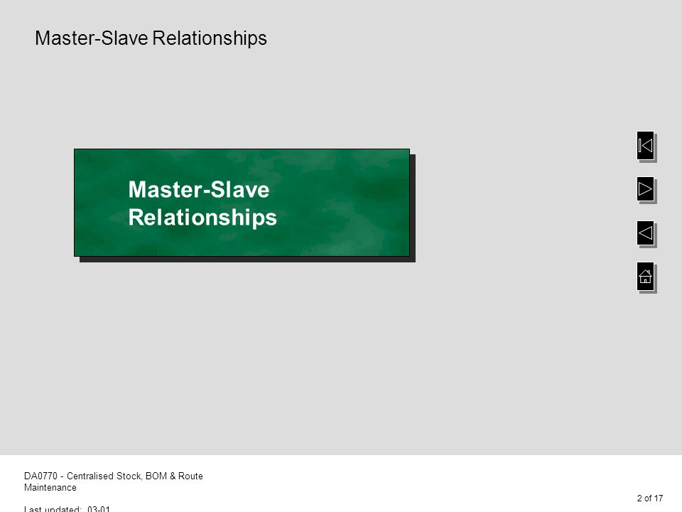 3 of 17 DA0770 - Centralised Stock, BOM & Route Maintenance Last updated: 03-01 Master-Slave Relationships This option allows you to define a master-slave relationship for each stock code and its associated bill of material, and route To select the default fields to be copied from the master to the slave warehouse, leave the Slave warehouse code blank and select F8-Stock Place the cursor on the required field using the ARROW keys then select F8- Toggle to switch the Copy value from n to y You can select F8-Toggle to deselect the field, if required To confirm the selected fields, select Enter-Amend