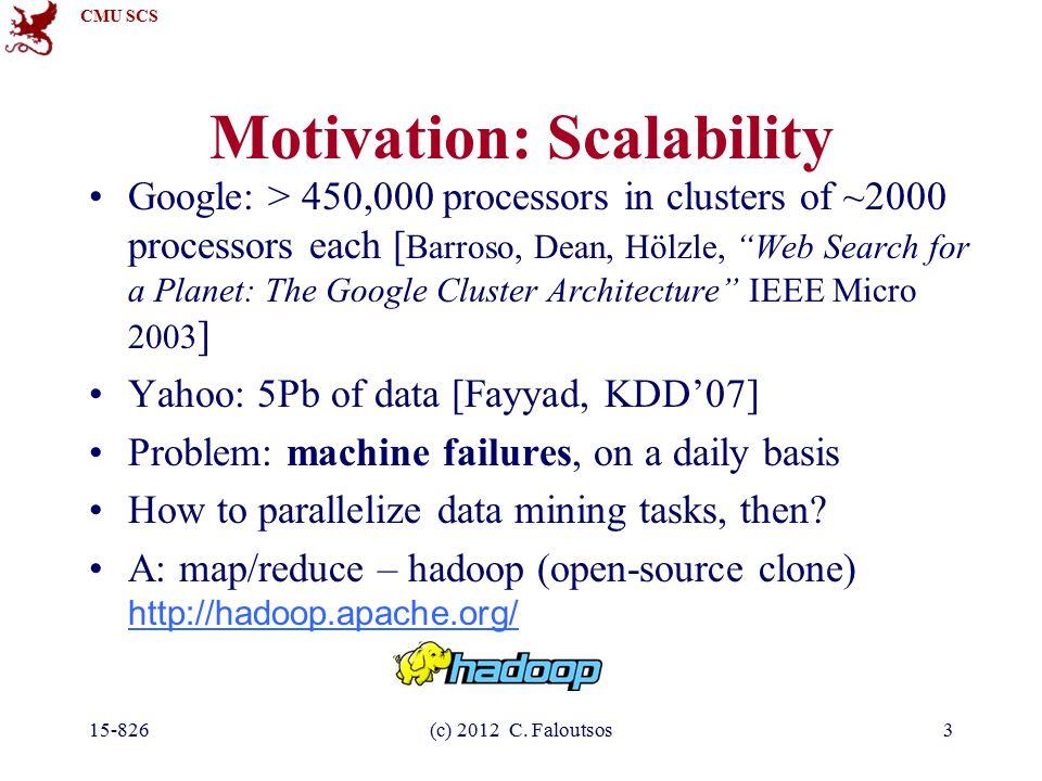 CMU SCS 15-826(c) 2012 C. Faloutsos3 Motivation: Scalability Google: > 450,000 processors in clusters of ~2000 processors each [ Barroso, Dean, Hölzle