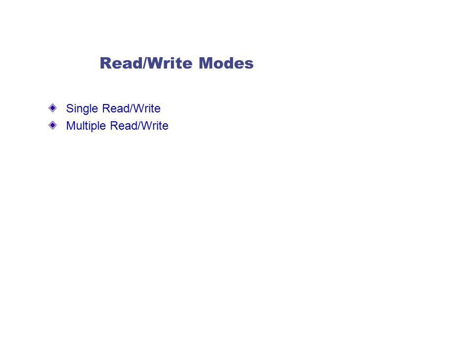 Read/Write Modes Single Read/Write Multiple Read/Write