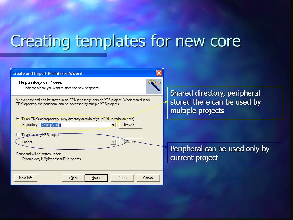 Creating templates for new core Shared directory, peripheral stored there can be used by multiple projects Peripheral can be used only by current project