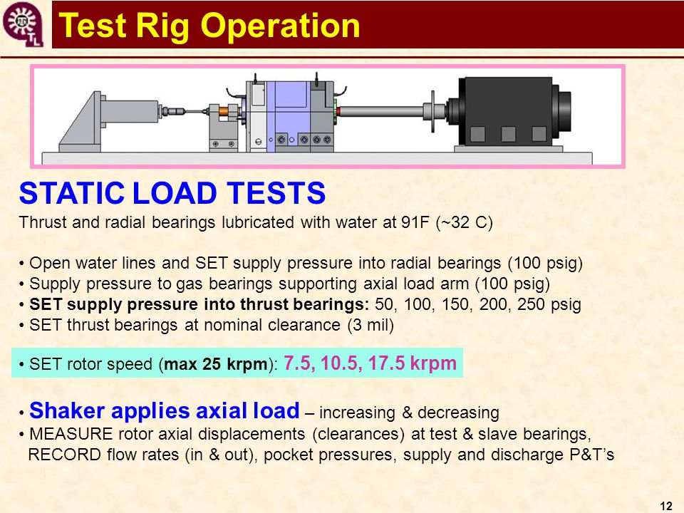 12 Test Rig Operation STATIC LOAD TESTS Thrust and radial bearings lubricated with water at 91F (~32 C) Open water lines and SET supply pressure into