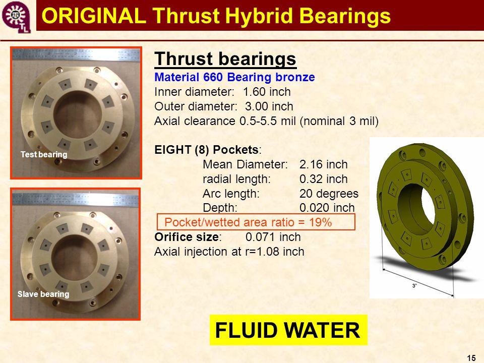 15 ORIGINAL Thrust Hybrid Bearings Thrust bearings Material 660 Bearing bronze Inner diameter: 1.60 inch Outer diameter: 3.00 inch Axial clearance 0.5