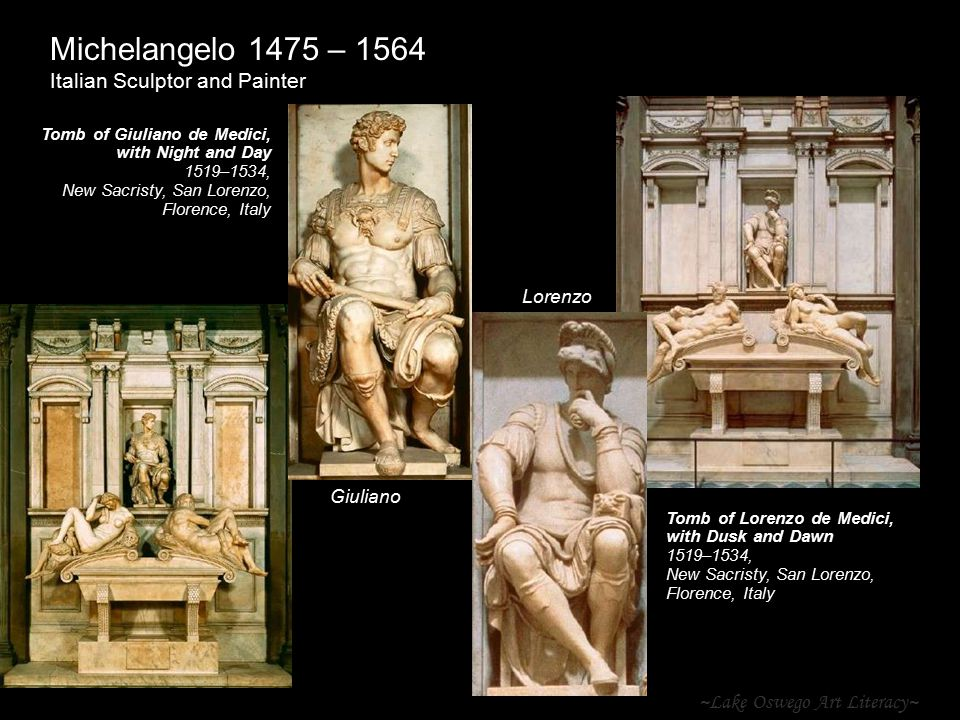 ~Lake Oswego Art Literacy~ Michelangelo 1475 – 1564 Italian Sculptor and Painter Tomb of Giuliano de Medici, with Night and Day 1519–1534, New Sacrist