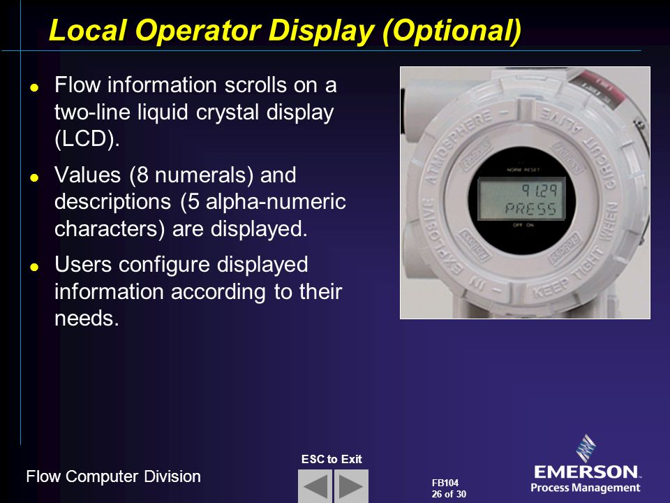 Flow Computer Division FB104 26 of 30 ESC to Exit Local Operator Display (Optional) Flow information scrolls on a two-line liquid crystal display (LCD