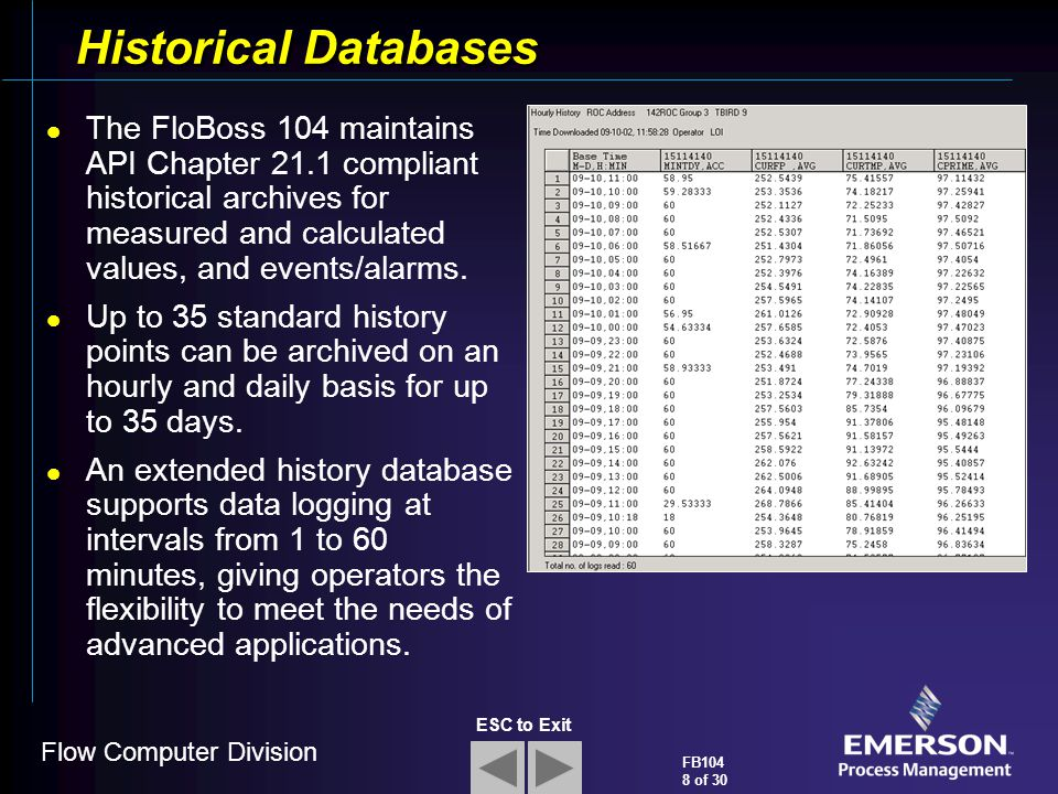 Flow Computer Division FB104 8 of 30 ESC to Exit Historical Databases The FloBoss 104 maintains API Chapter 21.1 compliant historical archives for mea