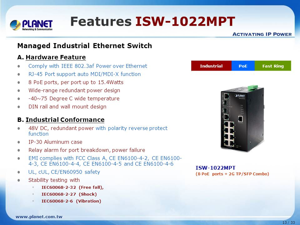 www.planet.com.tw 13 / 33 Features ISW-1022MPT Managed Industrial Ethernet Switch A.
