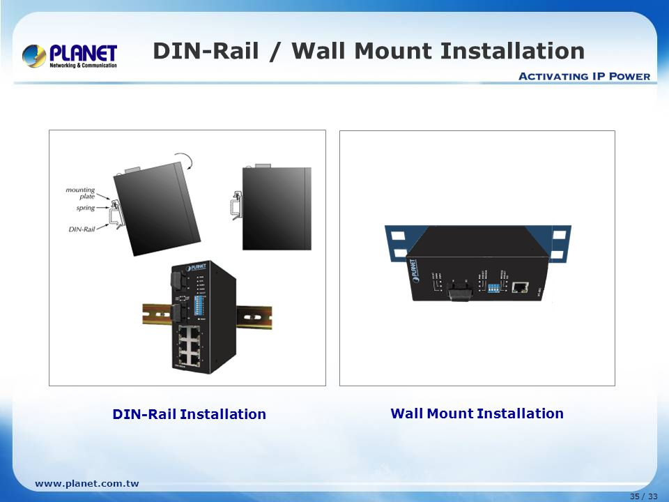 www.planet.com.tw 35 / 33 DIN-Rail / Wall Mount Installation DIN-Rail Installation Wall Mount Installation