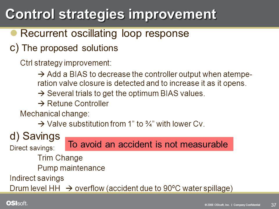 37 © 2008 OSIsoft, Inc. | Company Confidential Control strategies improvement Recurrent oscillating loop response c) The proposed solutions Ctrl strat
