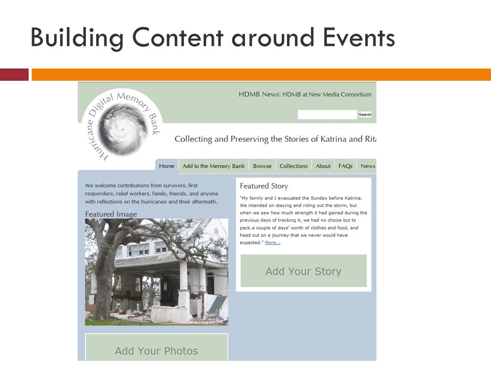 Building Content around Events