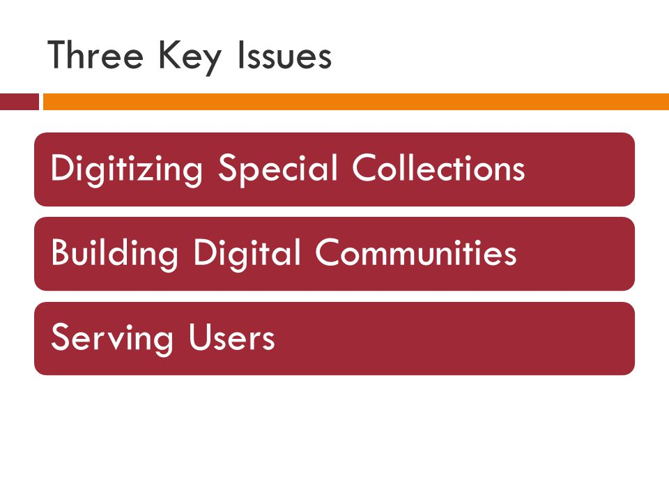Three Key Issues Digitizing Special CollectionsBuilding Digital CommunitiesServing Users