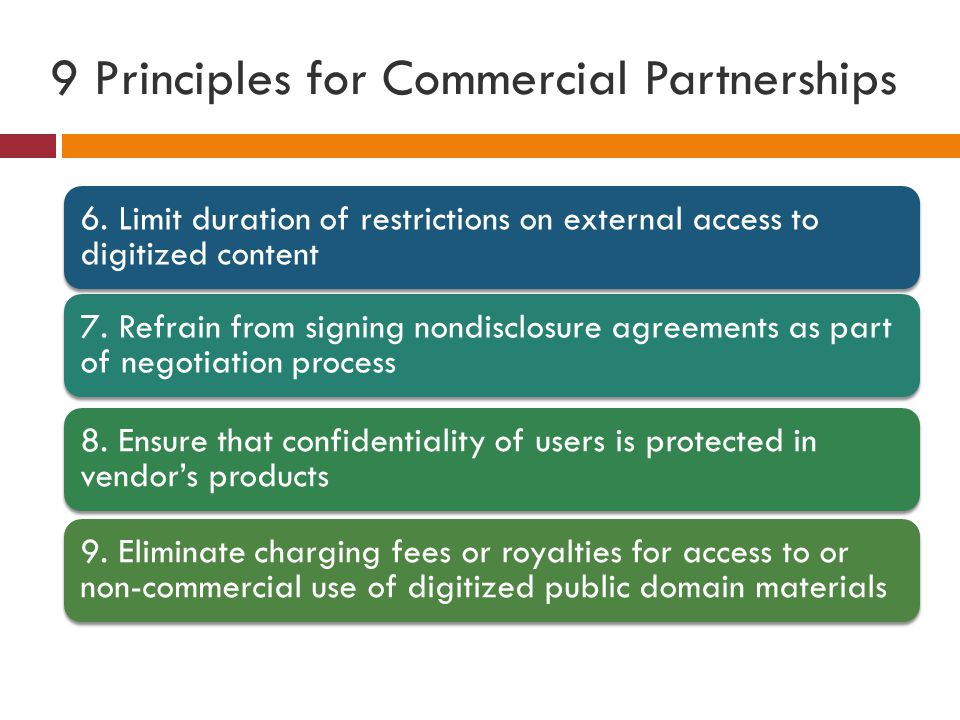 9 Principles for Commercial Partnerships 6.
