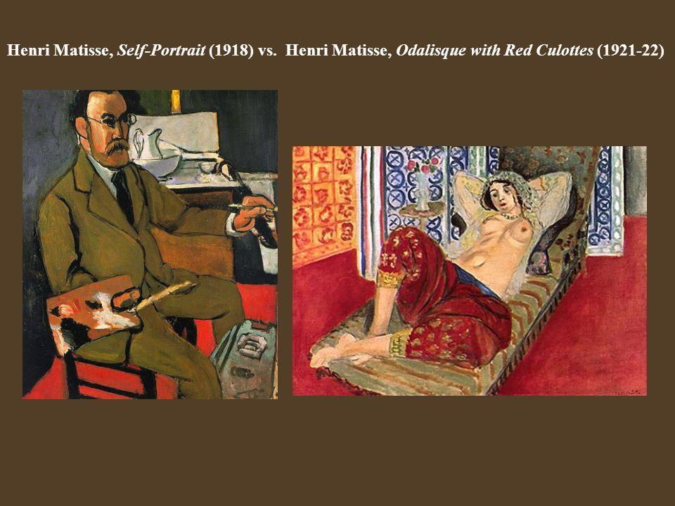 Henri Matisse, Self-Portrait (1918) vs. Henri Matisse, Odalisque with Red Culottes (1921-22)