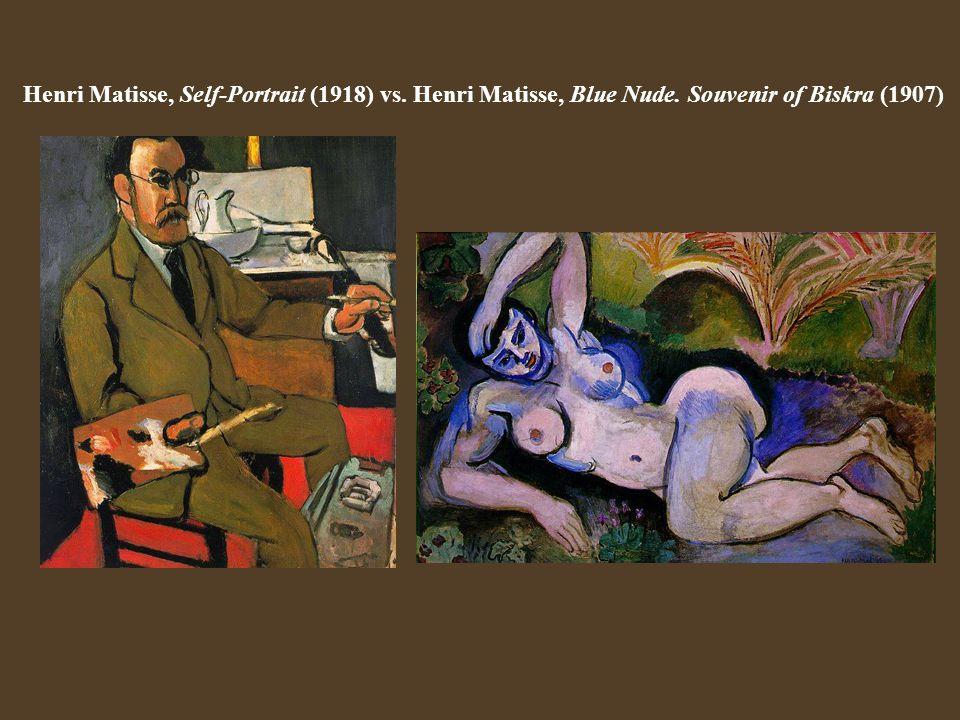 Henri Matisse, Self-Portrait (1918) vs. Henri Matisse, Blue Nude. Souvenir of Biskra (1907)