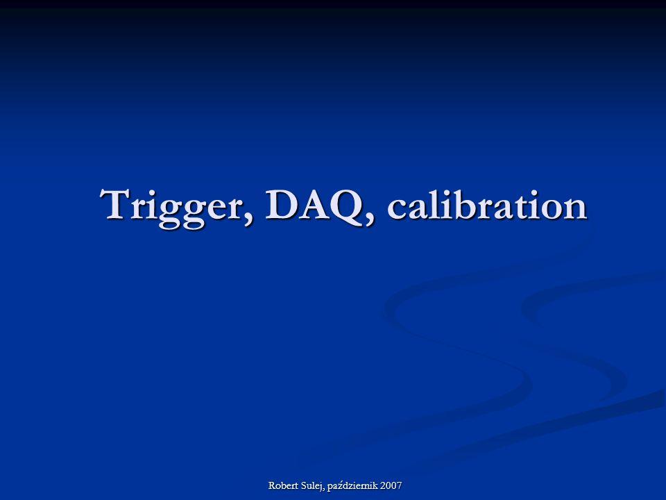Trigger, DAQ, calibration Robert Sulej, październik 2007