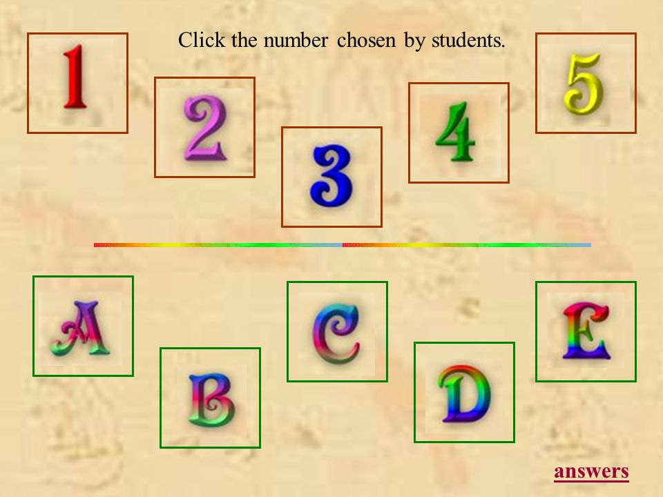 answers Click the number chosen by students.