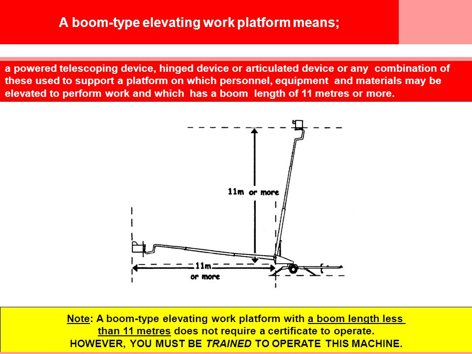 © Easy Guides Australia A boom-type elevating work platform means; a powered telescoping device, hinged device or articulated device or any combination of these used to support a platform on which personnel, equipment and materials may be elevated to perform work and which has a boom length of 11 metres or more.