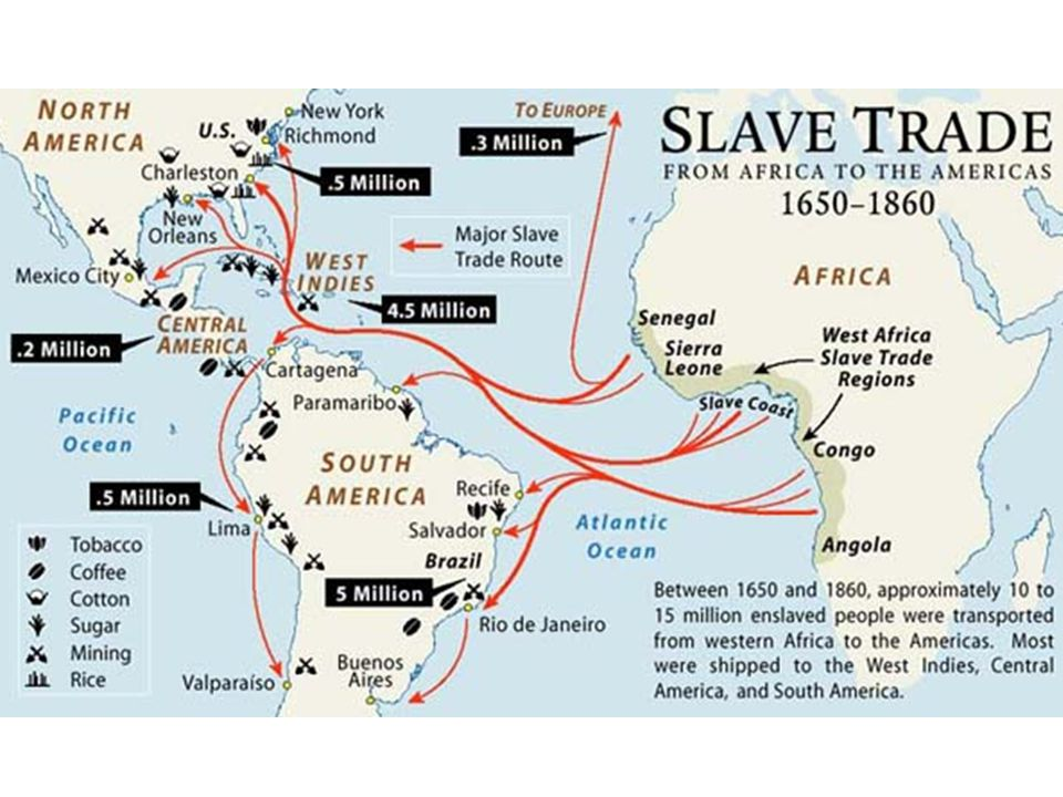 Triangular trade: A pattern of colonial commerce in which slaves were bought on the African Gold Coast with New England rum and then traded in the West Indies for sugar or molasses, which was brought back to New England to be manufactured into rum.