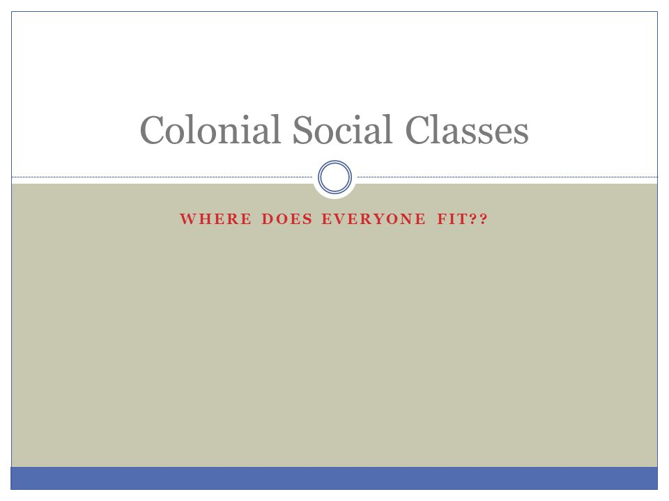 WHERE DOES EVERYONE FIT?? Colonial Social Classes