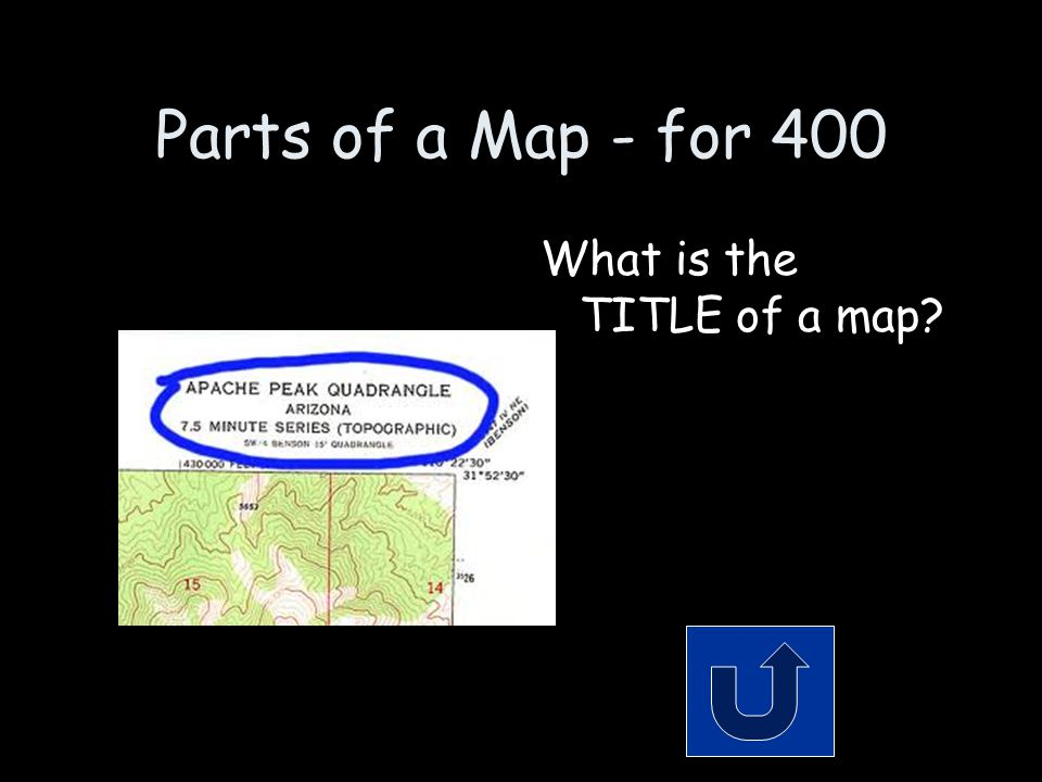Parts of a Map - for 400 What is the TITLE of a map?