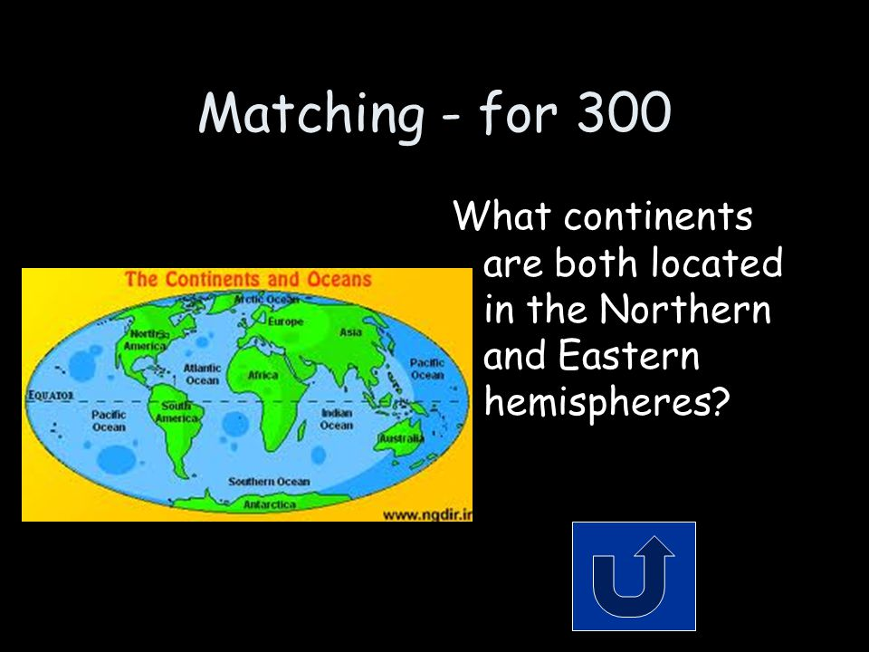 Matching - for 300 What continents are both located in the Northern and Eastern hemispheres?