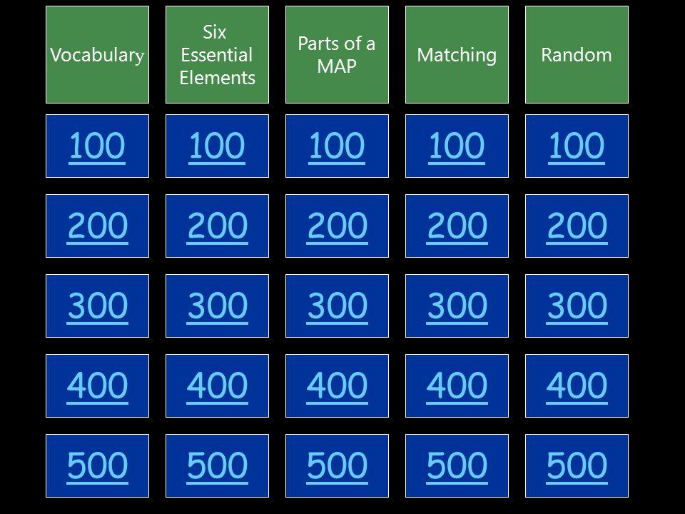 100 200 300 400 500 Vocabular y Six Essential Elements Parts of a MAP MatchingRandom 100 200 300 400 500 100 200 300 400 500 100 200 300 400 500 100 200 300 400 500