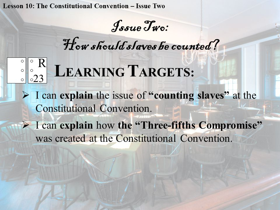 L EARNING T ARGETS:  I can explain how the Three-fifths Compromise was created at the Constitutional Convention.