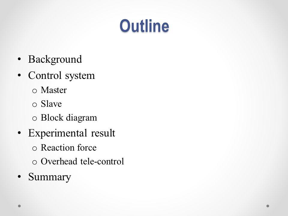 Outline Background Control system o Master o Slave o Block diagram Experimental result o Reaction force o Overhead tele-control Summary